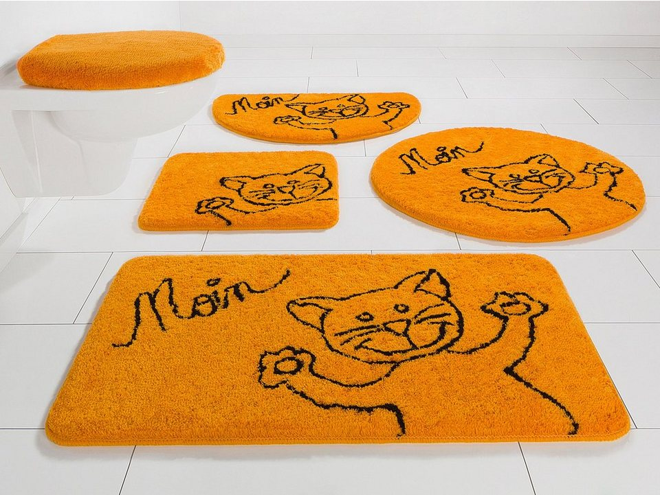 Badematte, my home, »Katze«, Höhe 15 mm, rutschhemmender Rücken in orange