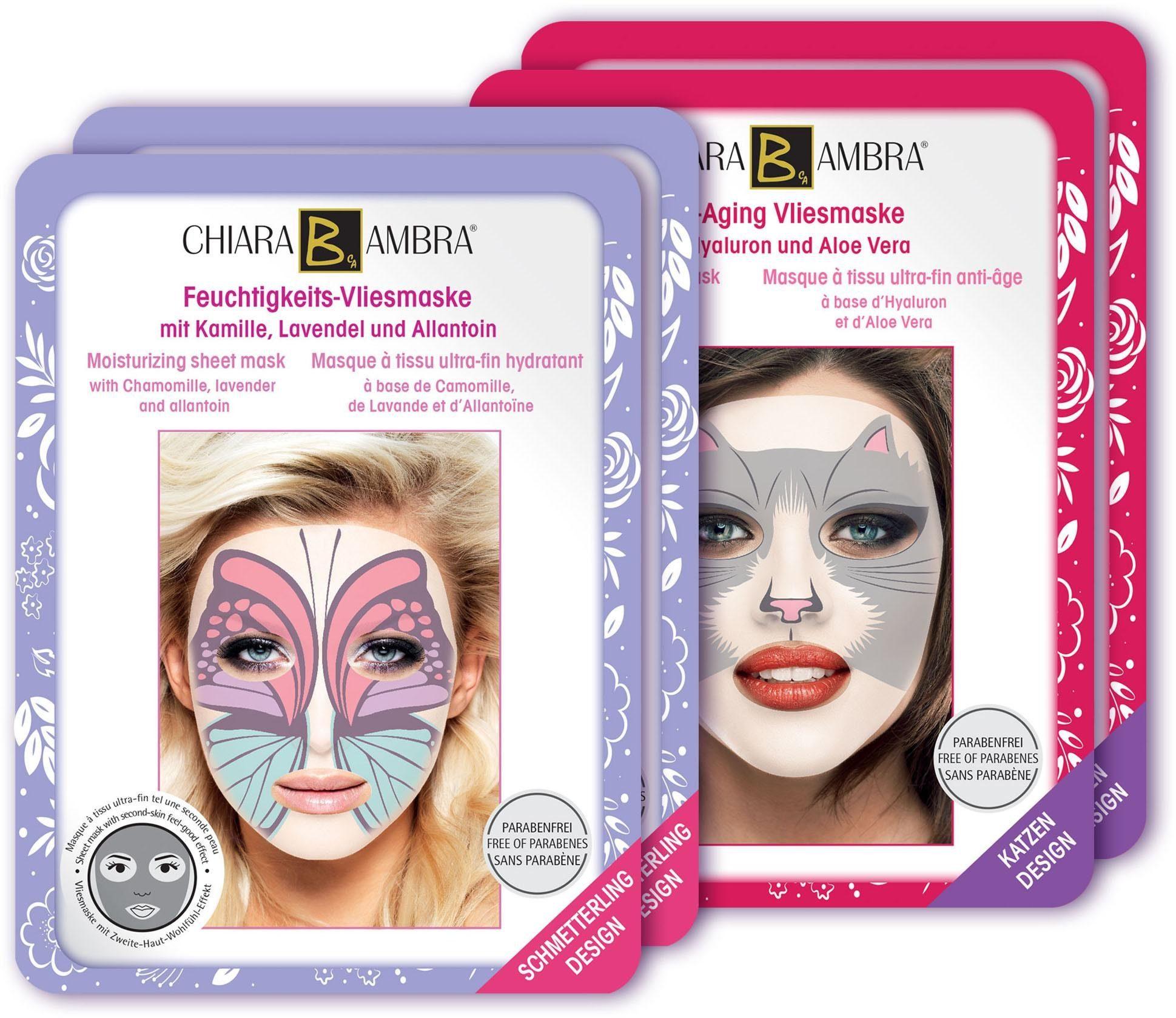 Chiara Ambra, »Vliesmasken mit Tierdesign«, Gesichtspflege-Set (4-tlg.)