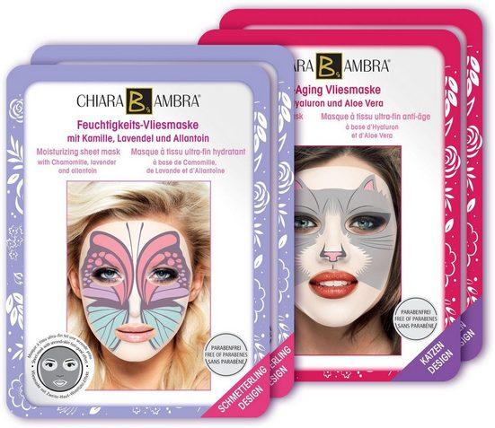 CHIARA AMBRA Gesichtsmasken-Set »Vliesmasken mit Tierdesign«, 4-tlg.