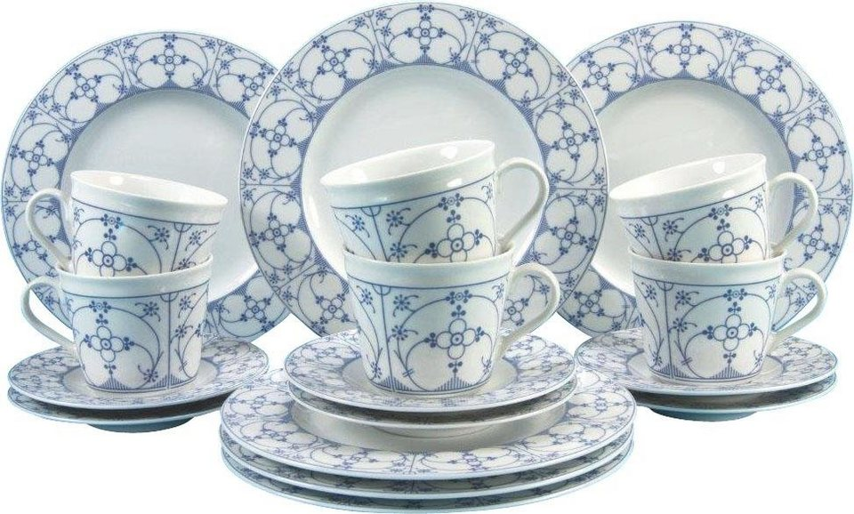 Porzellanserie »Borkum Indisch Blau« in Mit Bänder-Dekor in Farbe Blau