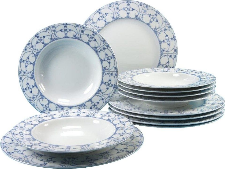 CreaTable Tafelservice, Porzellan, »Borkum Indisch Blau« (12-teilig ...