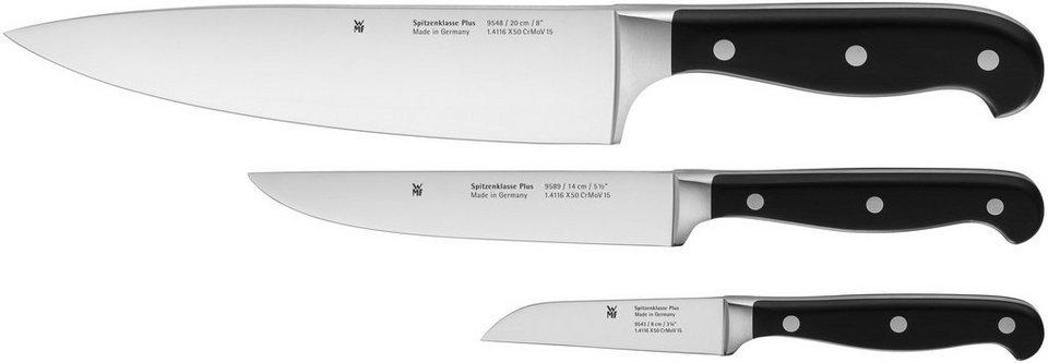 WMF Messer-Set, 3-teilig, »SPITZENKLASSE PLUS« in silberfarben/schwarz