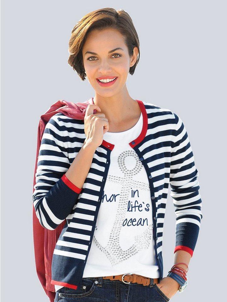 Alba Moda Strickjacke in marine/rot/weiß