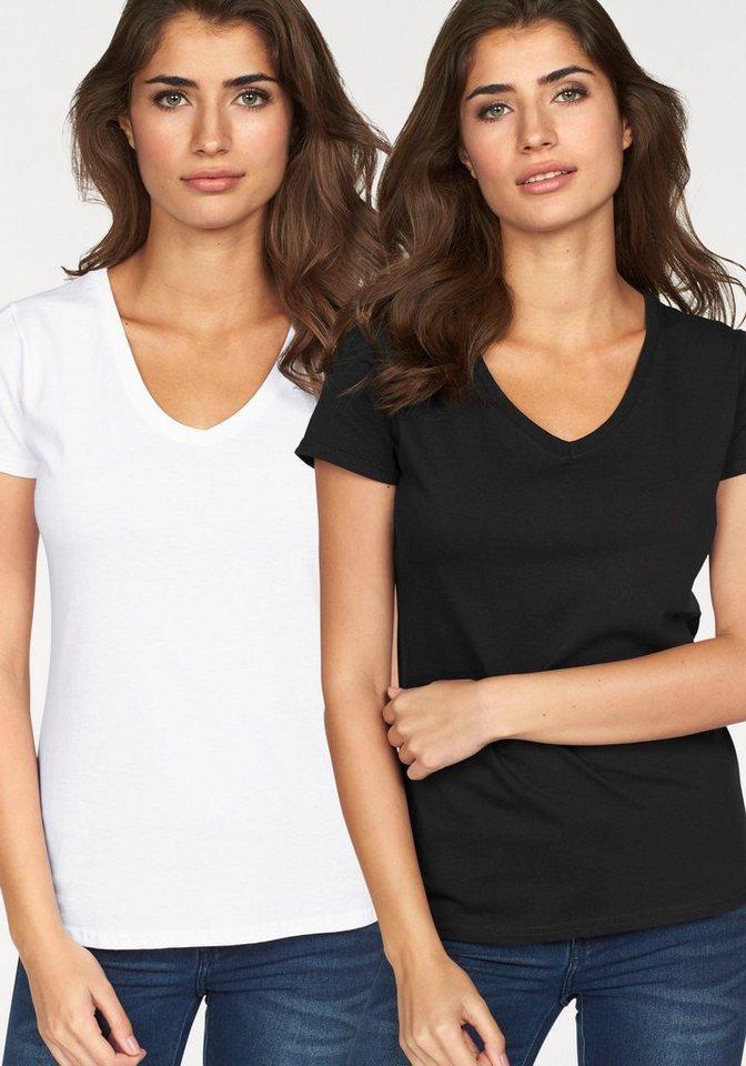 Fruit of the Loom V-Shirt »Lady-Fit Valueweight V-Neck« (Packung, 2 tlg., 2er-Pack) in schwarz-weiß