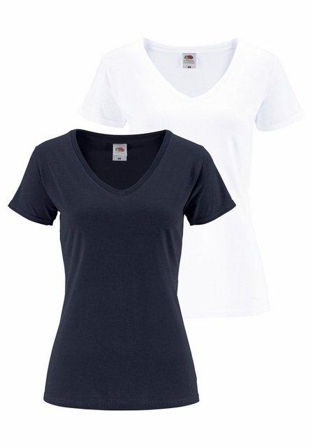 Fruit of the Loom V-Shirt »Lady-Fit Valueweight V-Neck« (Packung, 2-tlg., 2er-Pack) | Bekleidung > Shirts > V-Shirts | Fruit Of The Loom
