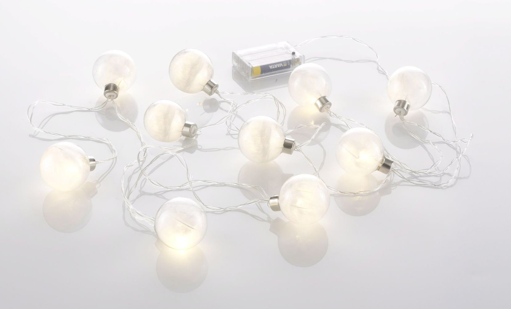 LED Lichterkette mit 10 Glaskugeln