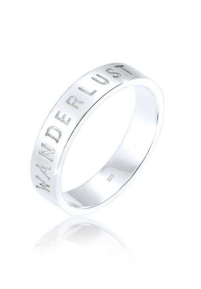 Elli Ring »Wanderlust-Schriftzug Statement 925 Silber« in Silber