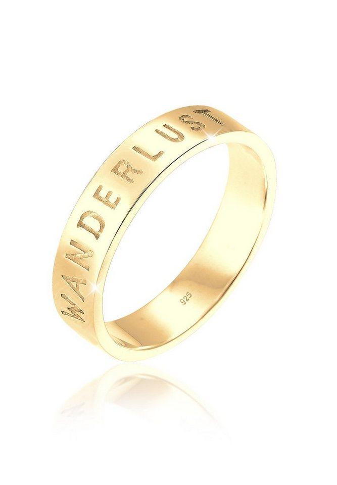 Elli Ring »Wanderlust-Schriftzug Statement Silber vergoldet« in Gold