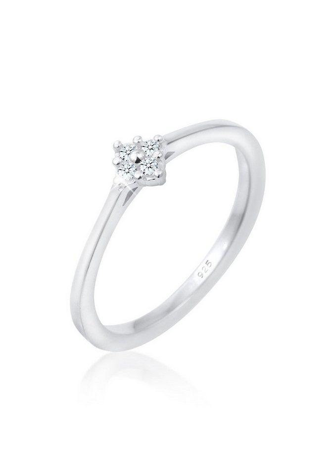 DIAMORE Ring »Verlobung Klassisch Diamant 0.08 ct. 925 Silber« in Weiß