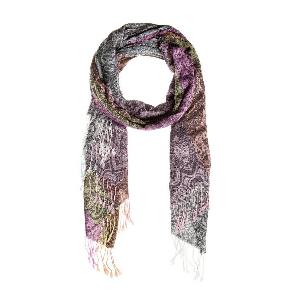 CODELLO Jacquard-Schal mit Paisley-Muster in pink