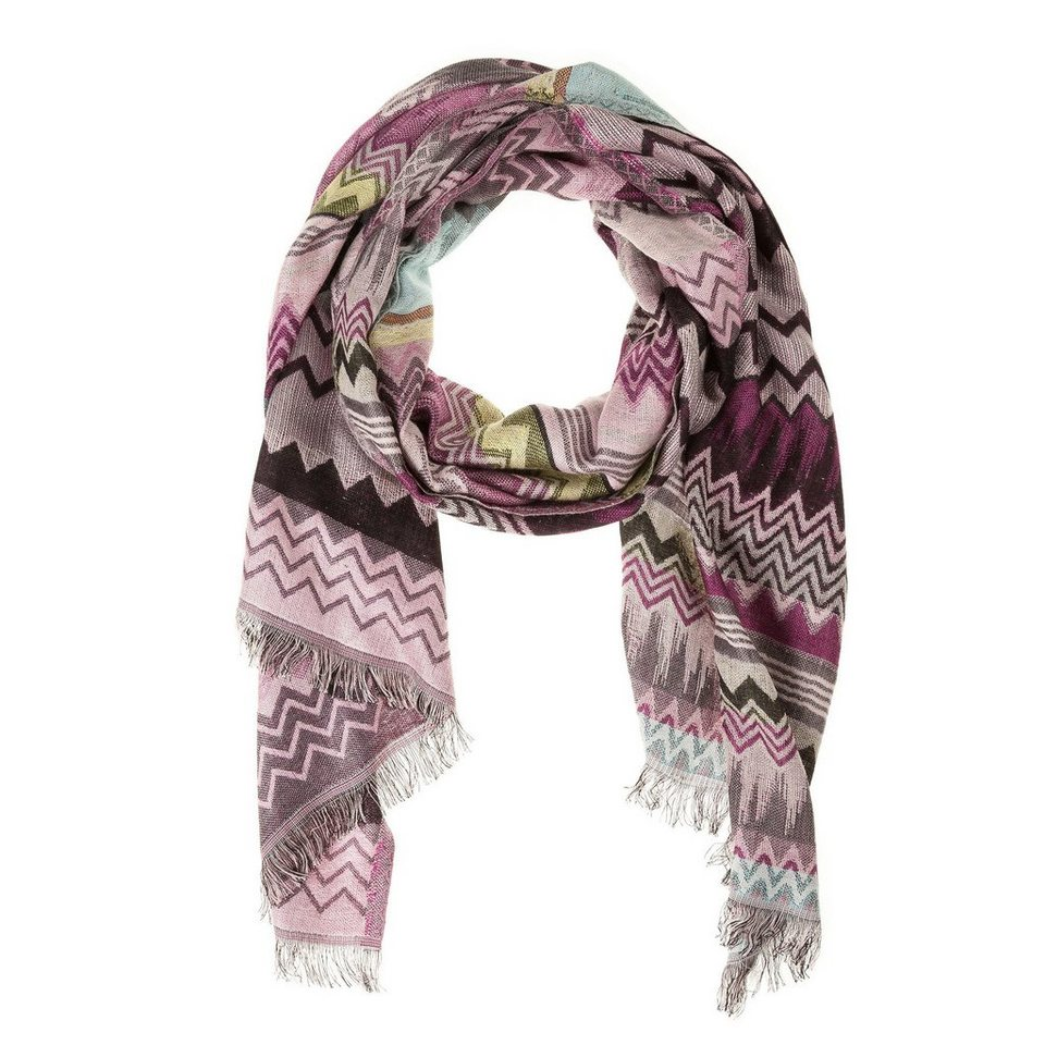 CODELLO Jacquard-Schal mit Zick-Zack-Muster in pink