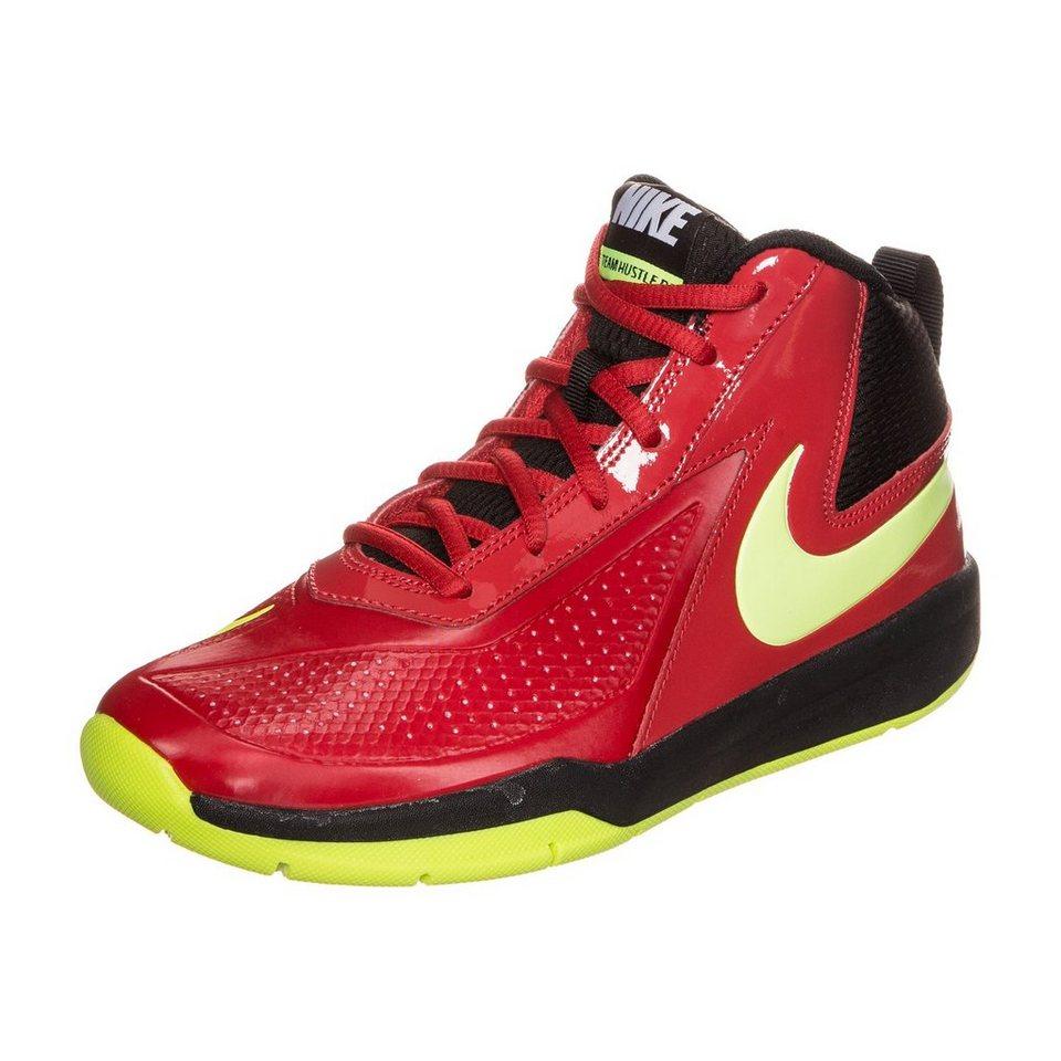 NIKE Team Hustle D 7 Basketballschuh Kinder in rot / neongelb