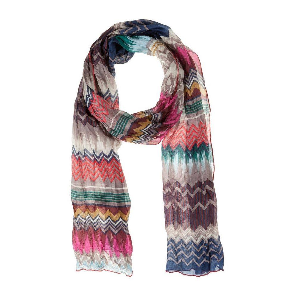 CODELLO Seiden-Schal mit Regenbogen-Muster in marine
