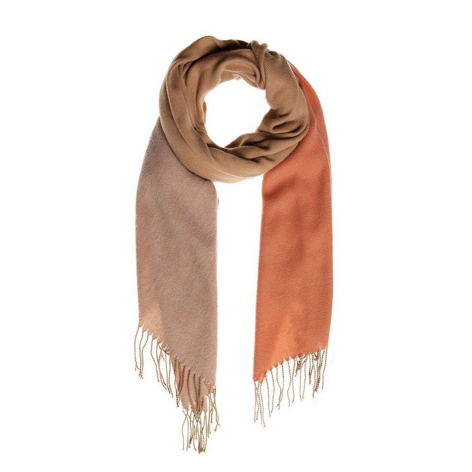 CODELLO Zweifarbiger Schal mit Fransen in camel