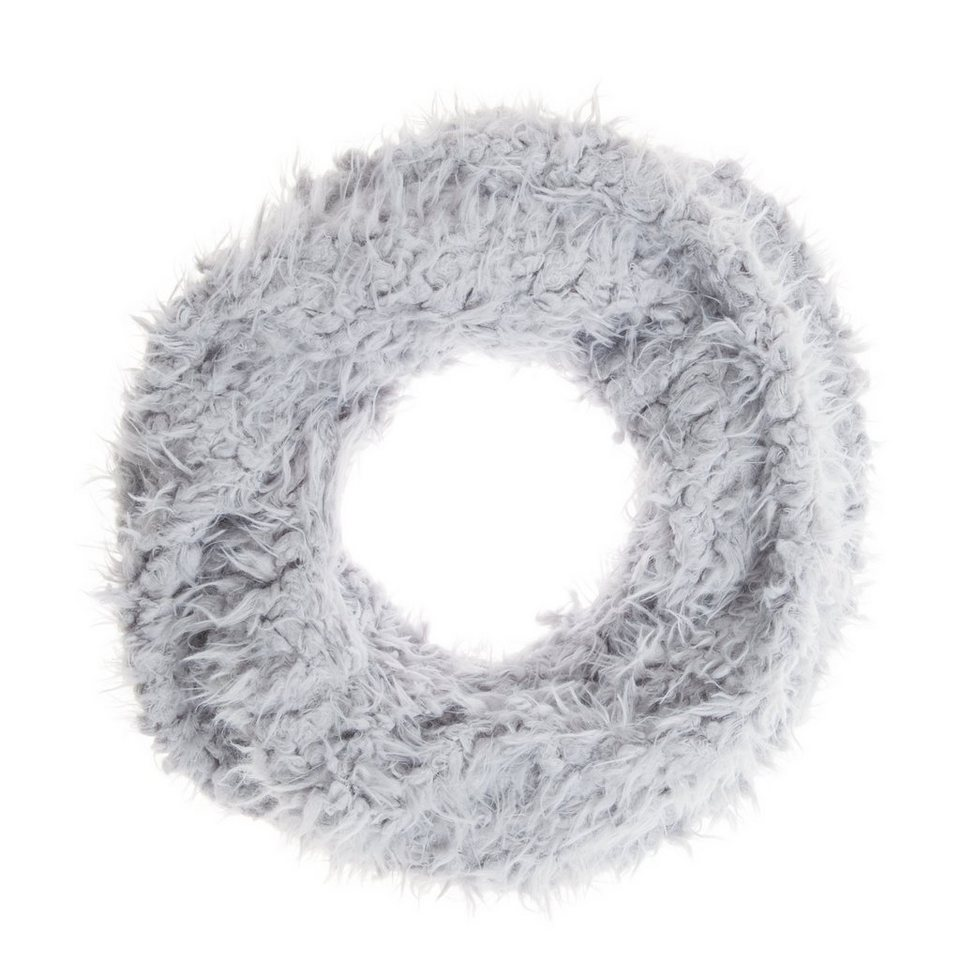 CODELLO Loop-Schal aus Kunstpelz in hellgrau