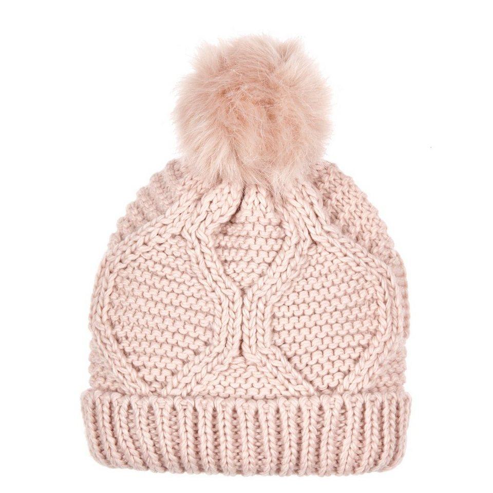 CODELLO Bommel-Mütze mit Zopfstrick-Muster in hellpink