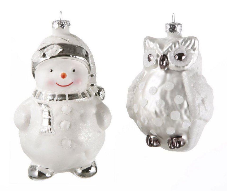 Inge´s Christmas Decor Weihnachtsschmuck Eule und Schneemann, (2-teilig) in weiß, silber