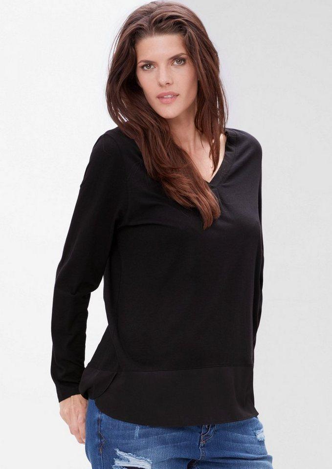 TRIANGLE Longshirt mit Saumblende in black