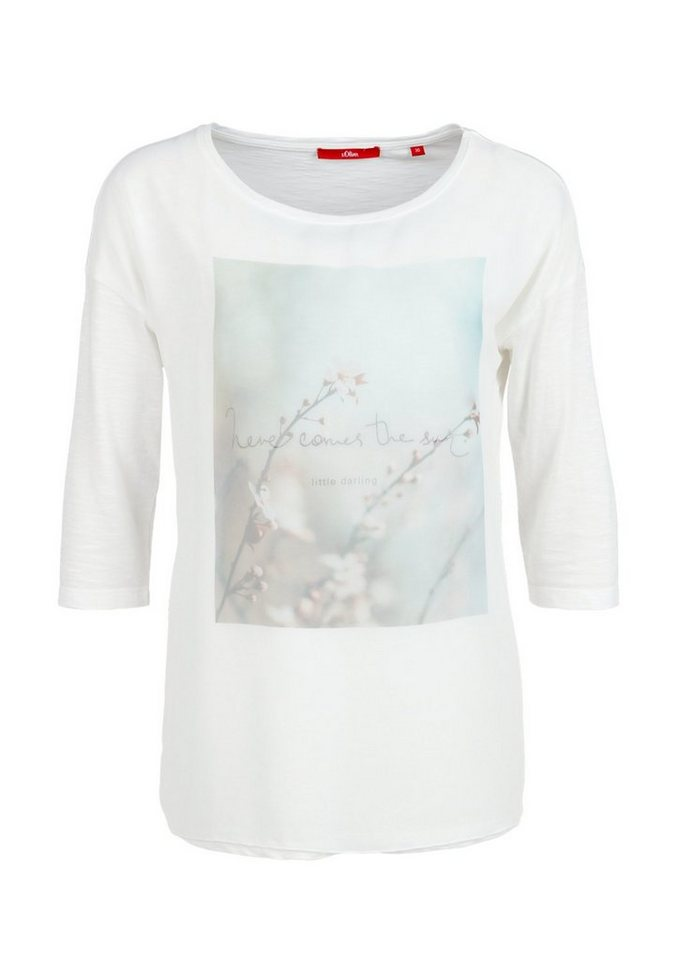 s.Oliver RED LABEL Romantik-Shirt mit Chiffon-Front in off white placed pri