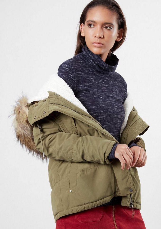 Q/S designed by Winterjacke mit Fake-Fur in olive