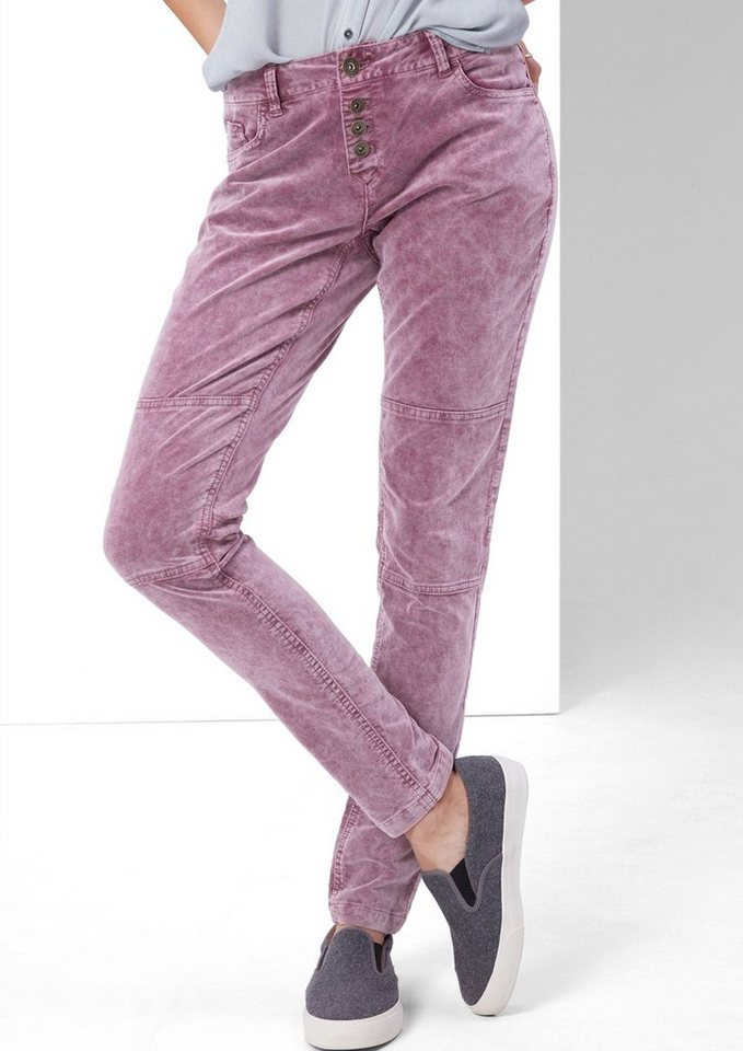 s.Oliver RED LABEL Shape Superskinny: Samt-Hose in grey purple