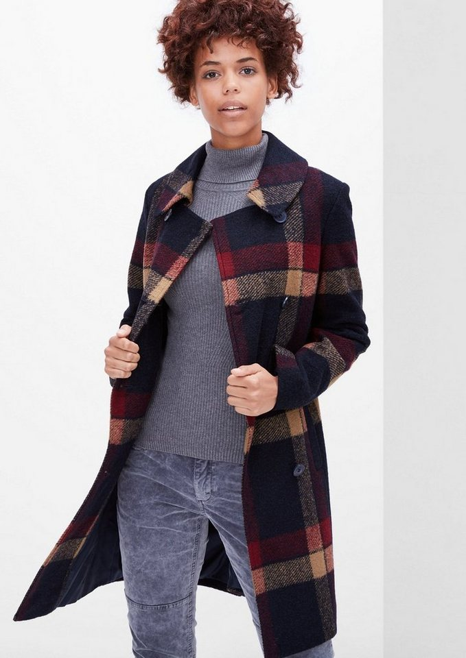 s.Oliver RED LABEL Karierter Wollmantel in midnight blue check