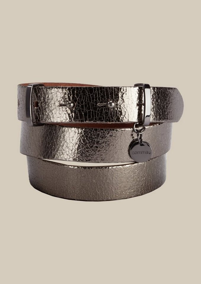 COMMA Schöner Gürtel mit silbrig glänzender Oberfläche in graphit