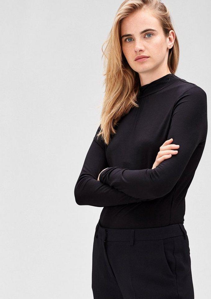 s.Oliver BLACK LABEL Viskose-Shirt mit Stehkragen in black