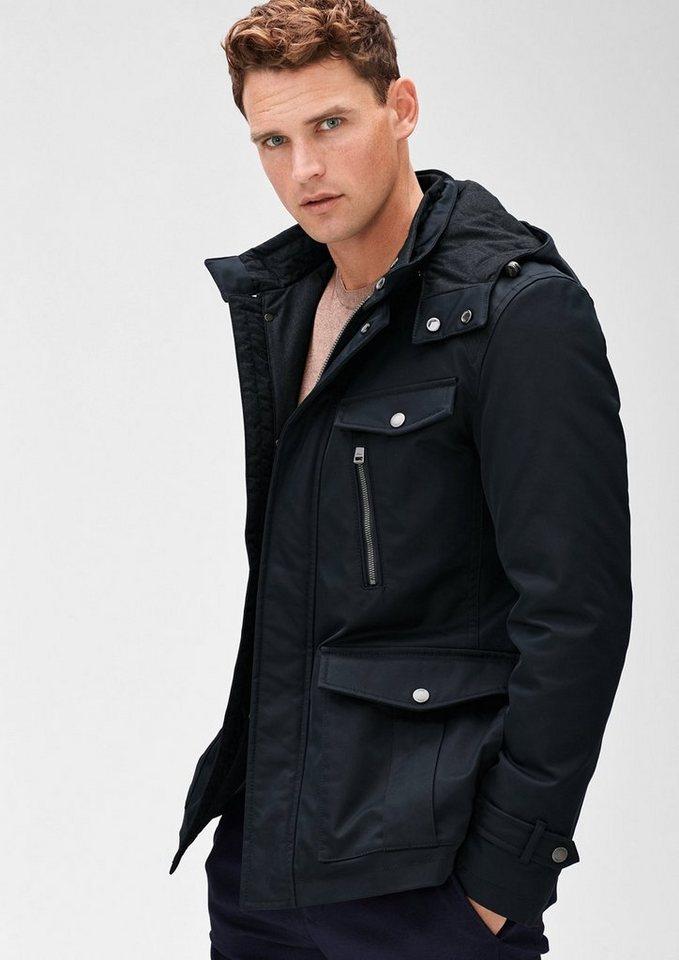 s.Oliver BLACK LABEL Outdoor-Jacke in sportiver Optik in storm blue