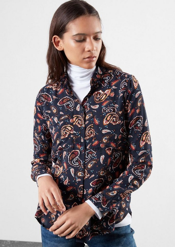 Q/S designed by Gemusterte Bluse in midnight blue AOP