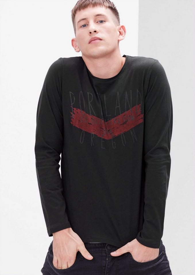 s.Oliver RED LABEL Longsleeve mit Schriftprint in charcoal
