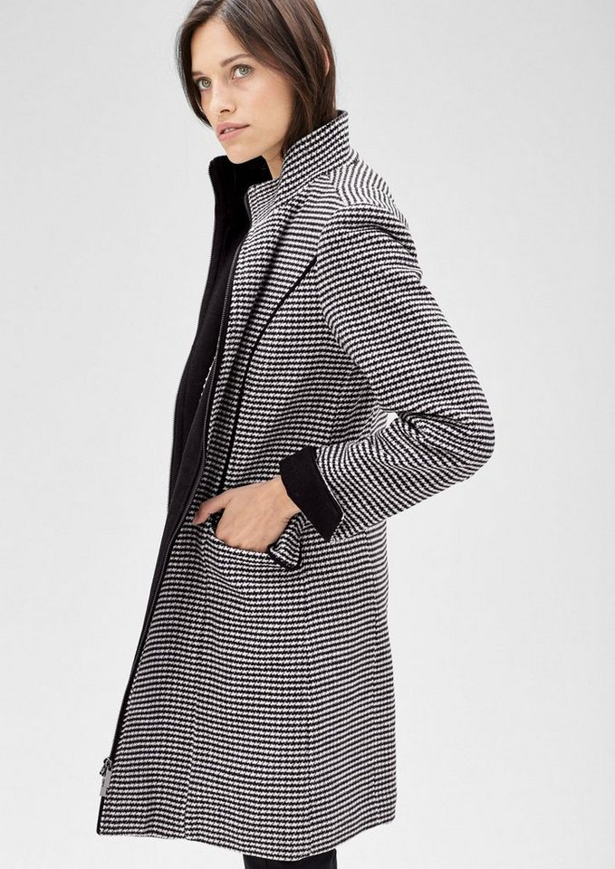 s.Oliver BLACK LABEL Wollmantel mit Hahnentritt-Muster in grey/black check