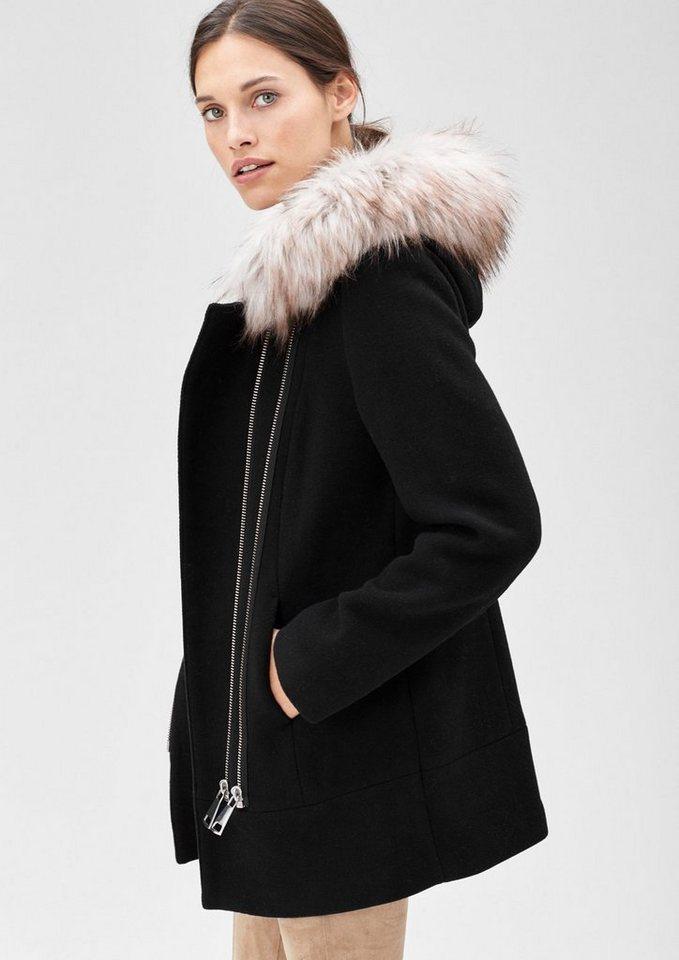 s.Oliver BLACK LABEL Wolljacke mit Fake Fur in winter black