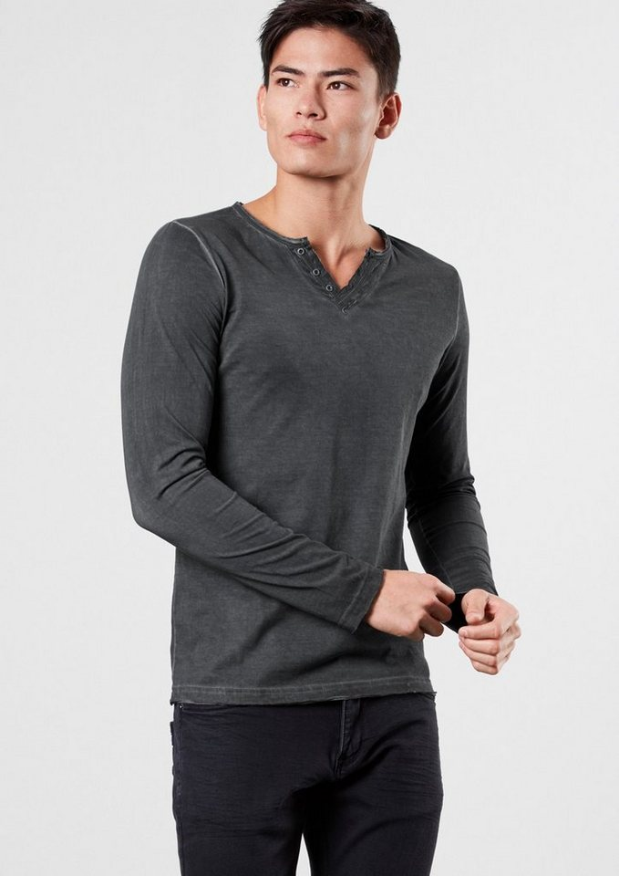 Q/S designed by Longsleeve im Garment Dye in black grey