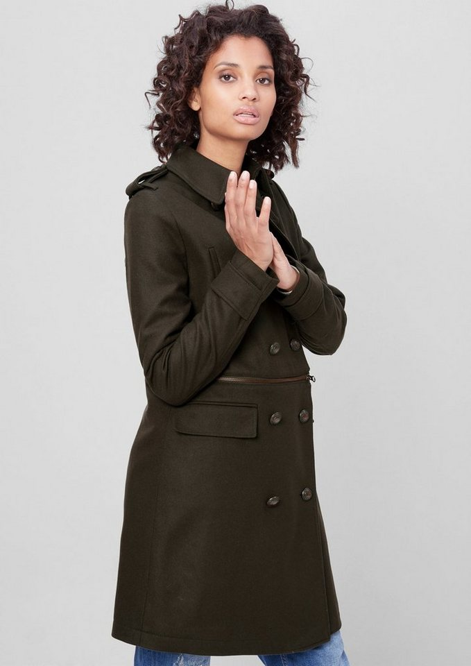 s.Oliver RED LABEL Wollmantel im Military-Style in olive night