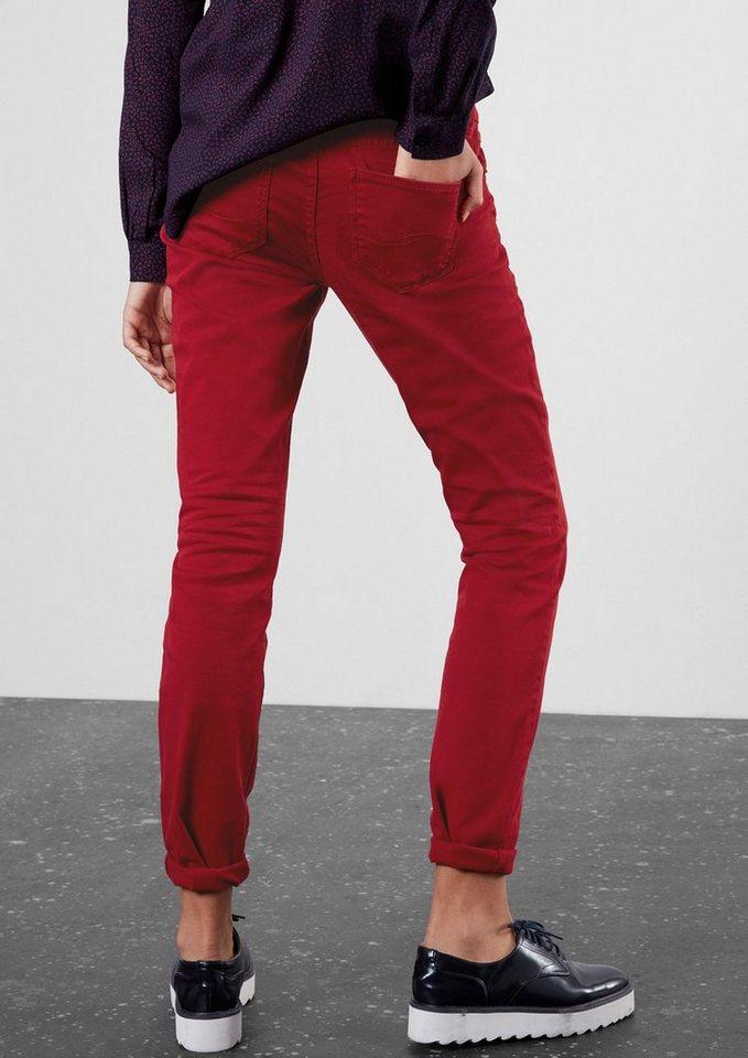 Q/S designed by Slim: Colored Denim mit Stretch in autumn red
