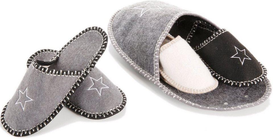 Gästepantoffel-Set Sterne in grau, cremeweiß, schwarz