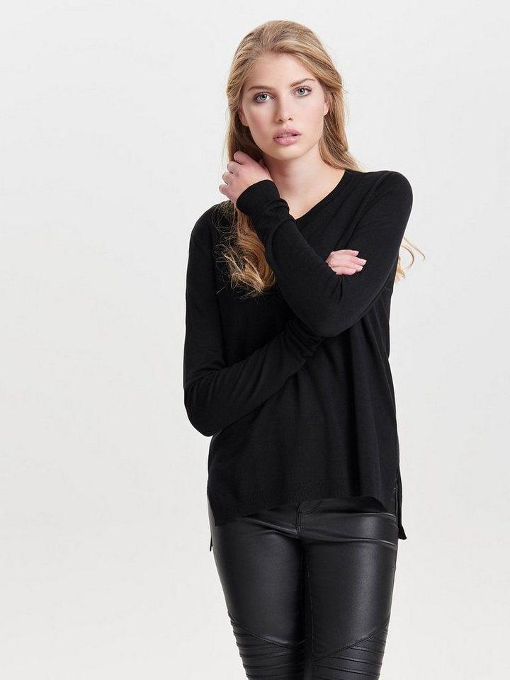 Only Einfarbiger Strickpullover in Black