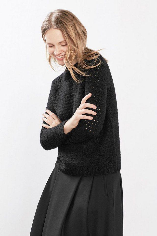 ESPRIT COLLECTION Ultra leichter Lochstrickpulli mit Wolle in BLACK