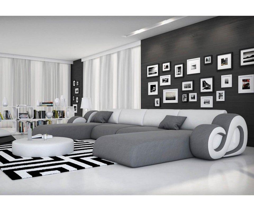 DELIFE Couch Constanza Grau Weiss 485x242 mit LED und Kissen