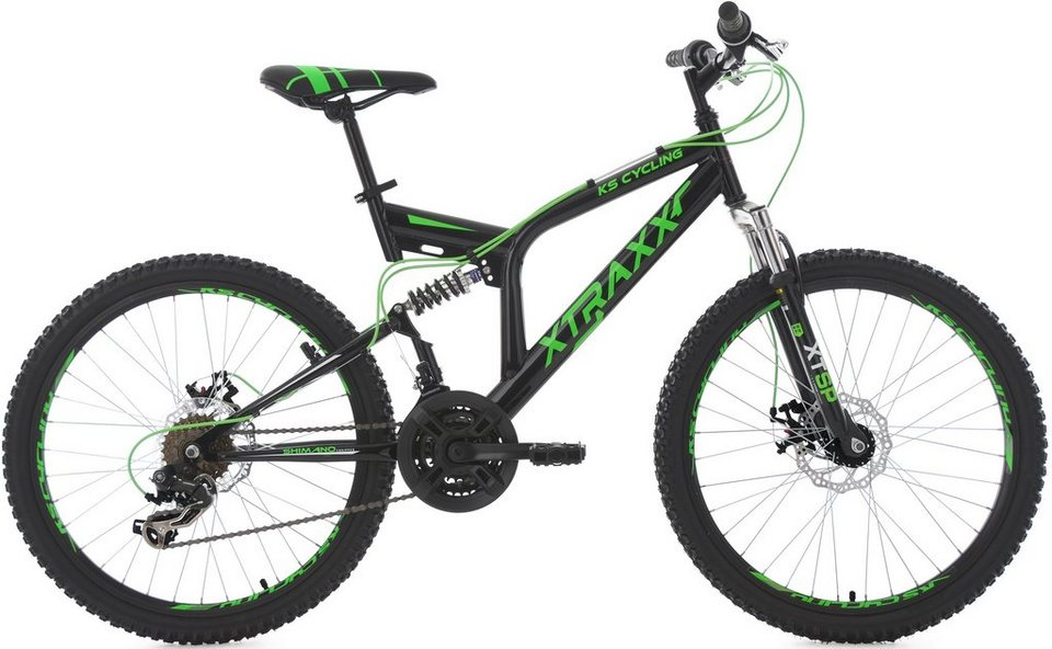 KS Cycling Jugendfahrrad, 24 Zoll, schwarz-grün, Shimano 21 Gang-Kettenschaltung, »XTRAXX« in schwarz