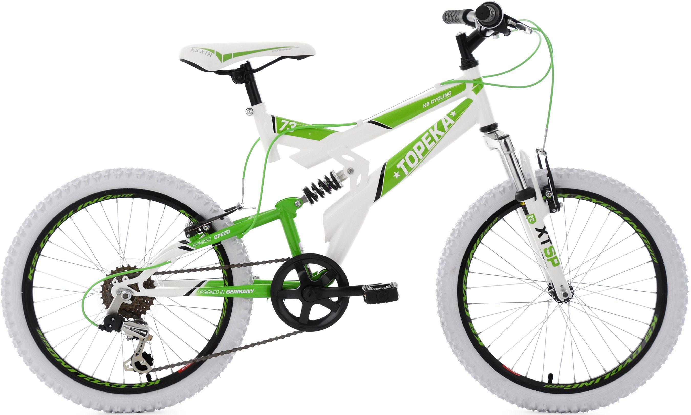 KS Cycling Kinderfahrrad, 20 Zoll, weiß-grün, Shimano 6 Gang-Kettenschaltung, »Topeka«