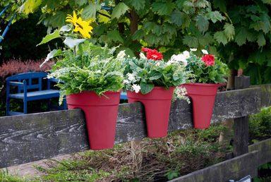 KHW Set: Pflanzkasten »Flowerclip«, 3 Stück, ØxH: 27x27,5 cm, beere