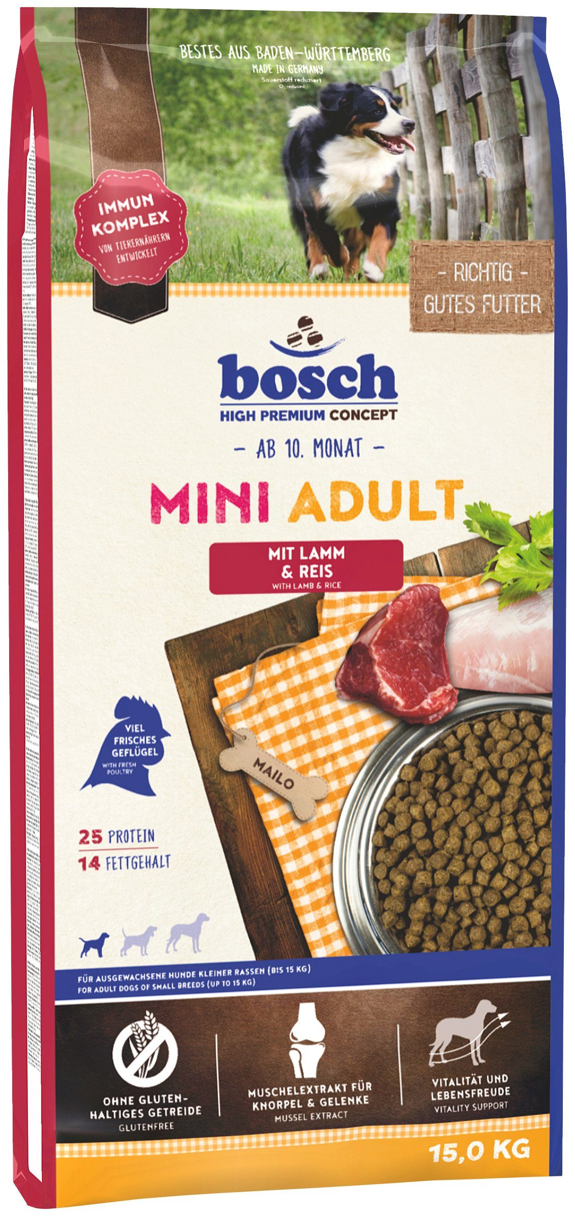 Bosch Petfood Hundetrockenfutter »Mini Adult Lamm & Reis«, 15 kg