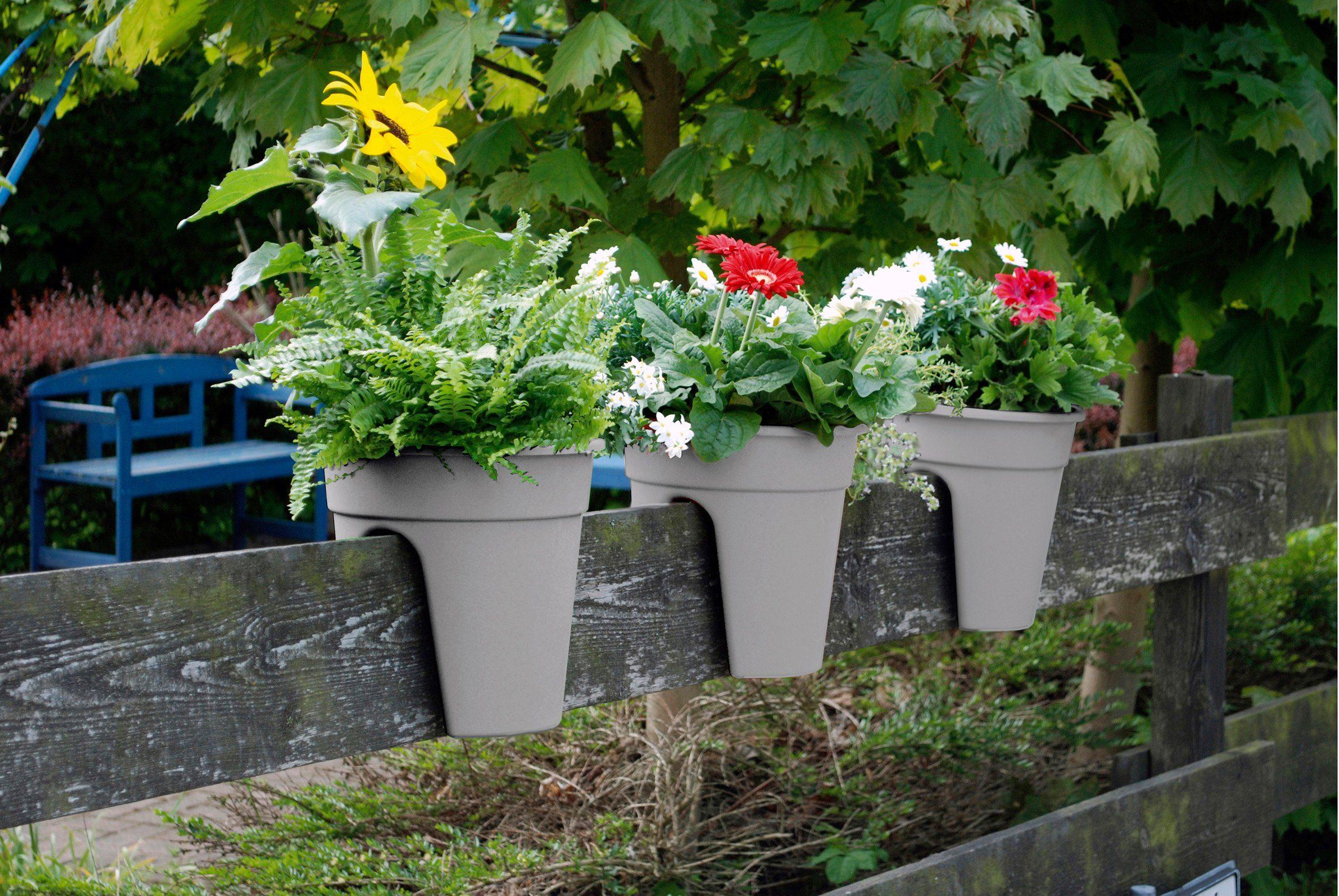 Set: Pflanztopf »Flowerclip«, 3 Stk., granitgrau