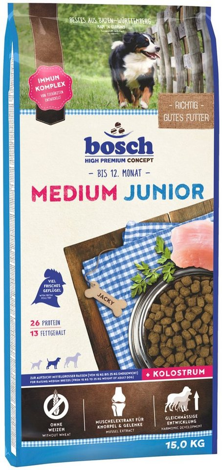 Hundetrockenfutter »Medium Junior«, 15 kg in braun