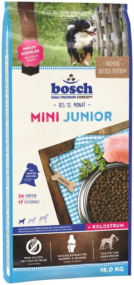 bosch petfood hundetrockenfutter mini junior 15 kg online kaufen otto. Black Bedroom Furniture Sets. Home Design Ideas