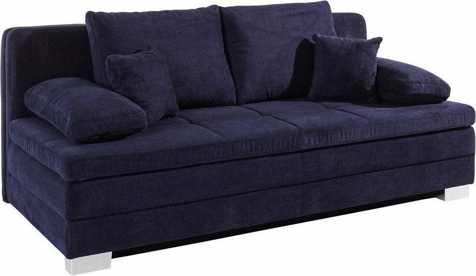 Schlafsofa mit Kaltschaumtopper, inklusive Bettkasten und loser Kissen in dunkelblau