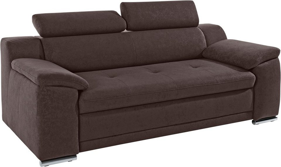 Sit & More 3-Sitzer, inklusive Kopfteilverstellung in braun
