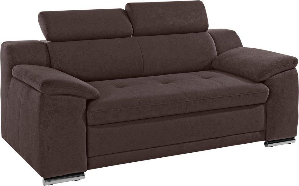 Sit & More 2-Sitzer, inklusive Kopfteilverstellung in braun